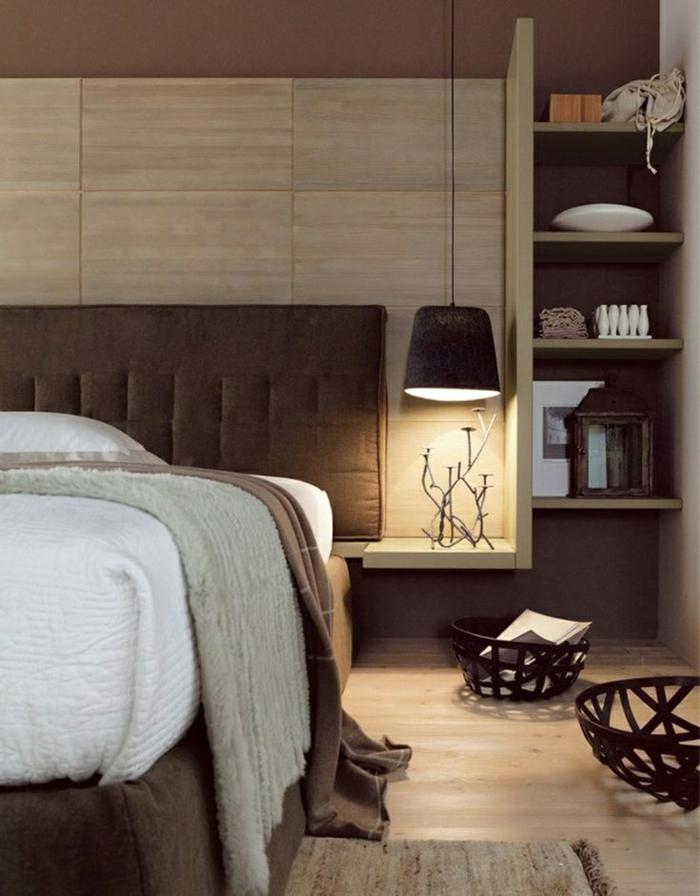 einrichtungsideen schlafzimmer braune nuancen gemütlich stauraum ideen