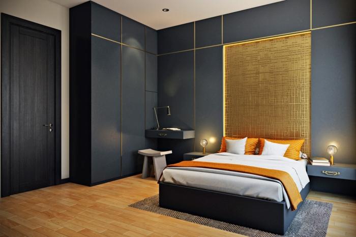 einrichtungsideen schlafzimmer coole beleuchtung orange akzente