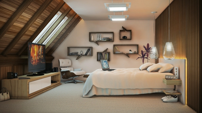 einrichtungsideen schlafzimmer coole hängeleuchten dachschräge fernseher