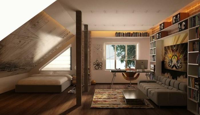 einrichtungsideen schlafzimmer dachschräge offener wohnplan