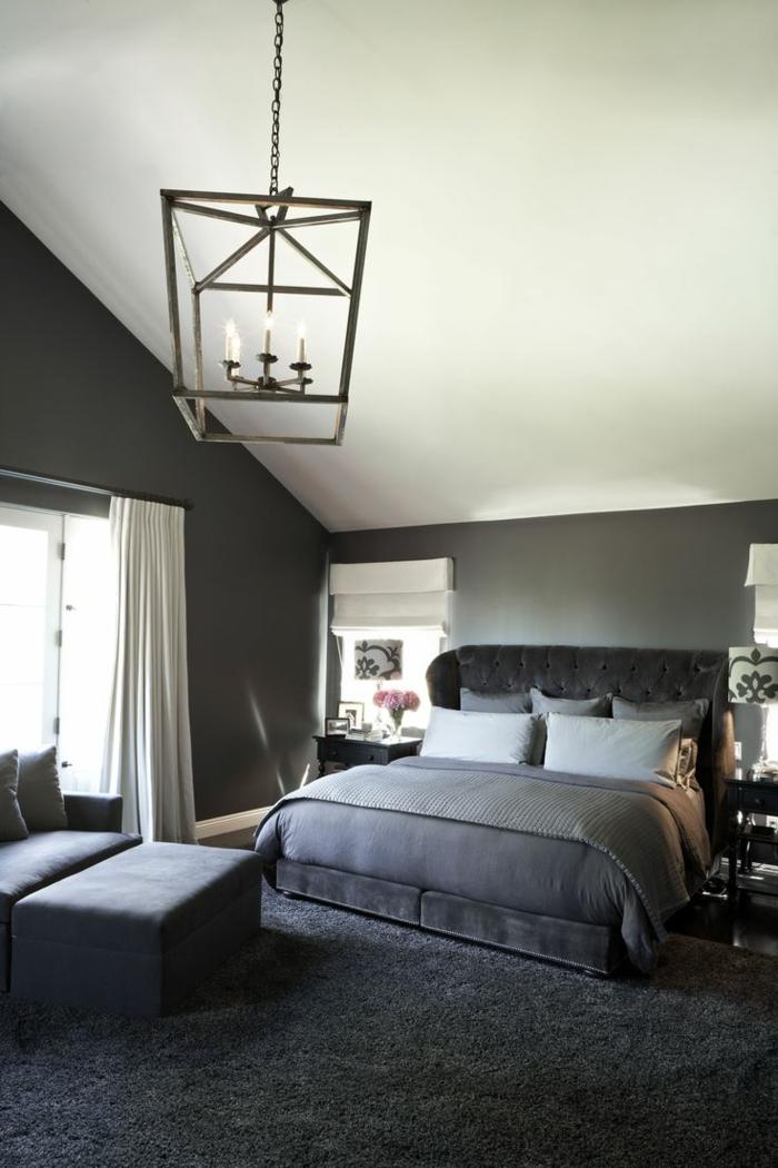 einrichtungsideen schlafzimmer dunkelgrauer teppich graue wände