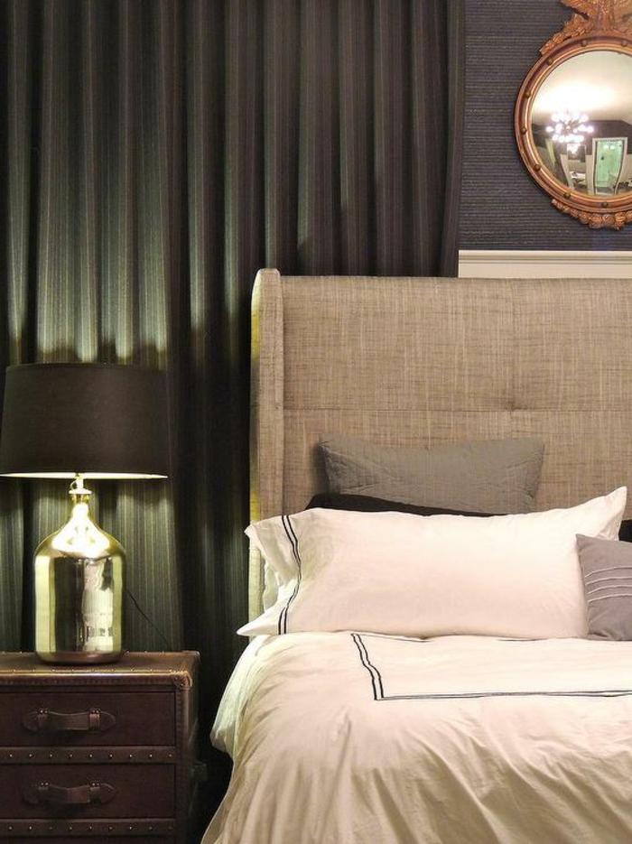 einrichtungsideen schlafzimmer elegante grüne gardinen atraktive nachttischlampe