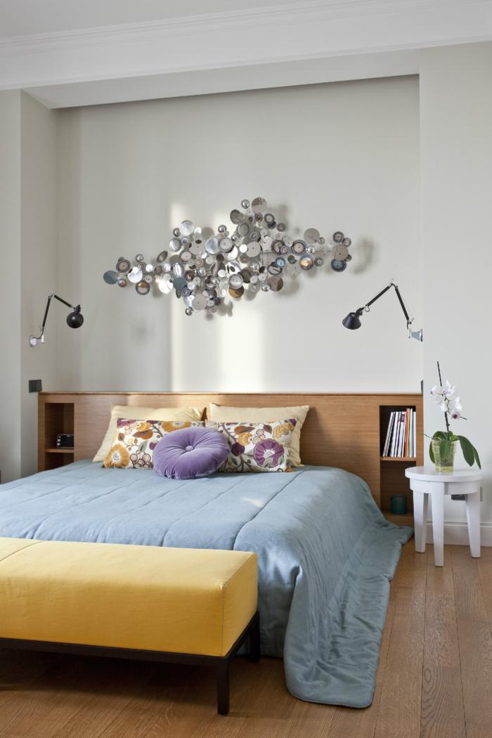 einrichtungsideen schlafzimmer farben kombinieren orchidee wandleuchten