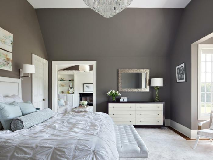 einrichtungsideen schlafzimmer farbliche kontraste schlafzimmerbank