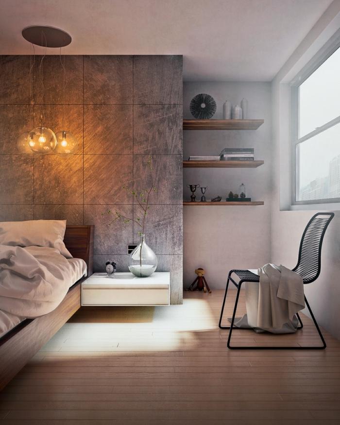 einrichtungsideen schlafzimmer freistehender nachttisch hängelampen wohnideen