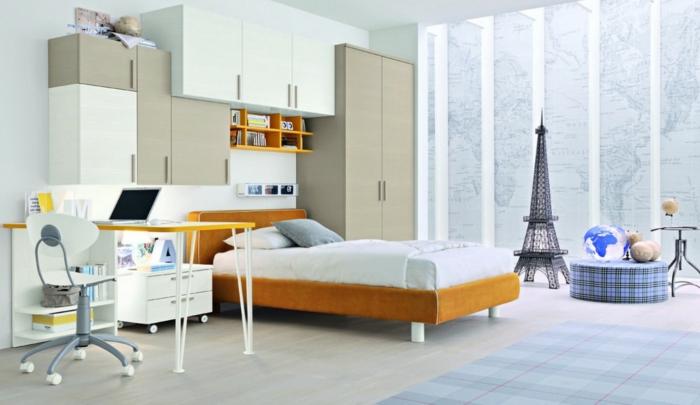 einrichtungsideen schlafzimmer helles ambiante teppichmuster kariert