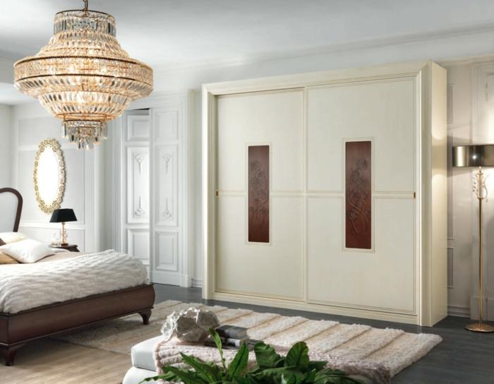 einrichtungsideen schlafzimmer kleiderschrank leuchter pflanzen