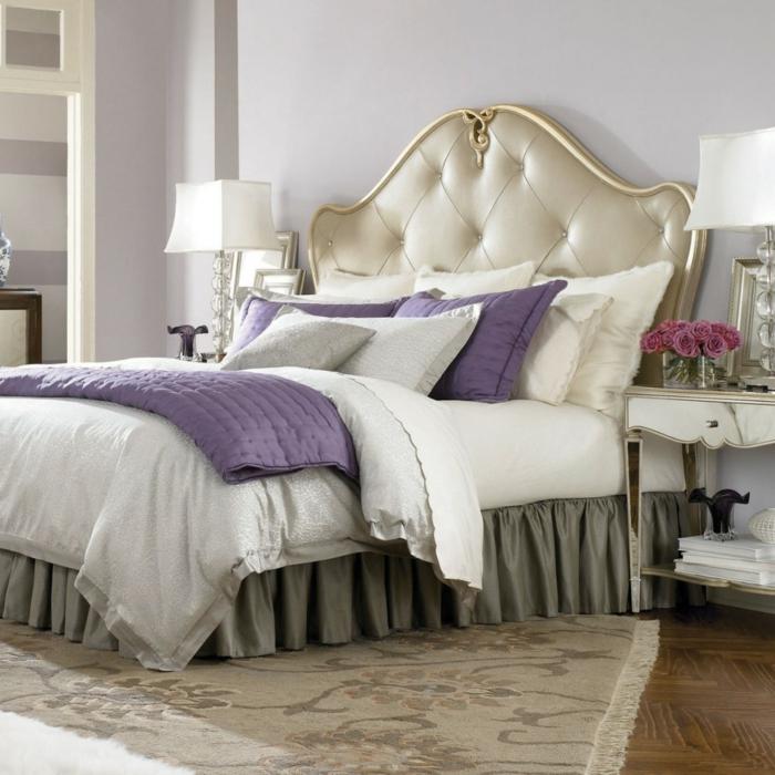 einrichtungsideen schlafzimmer lila akzente weiblich teppich