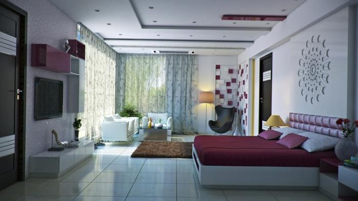 einrichtungsideen schlafzimmer lila akzente luftige gardinen weiße bodenfliesen