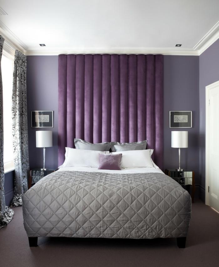 einrichtungsideen schlafzimmer lila nuancen schickes bett kleines schlafzimmer einrichten