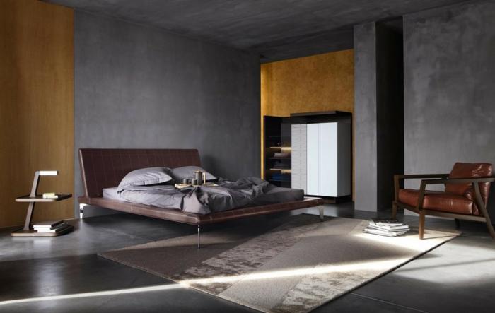 einrichtungsideen schlafzimmer männlich grau hellbraun teppich stauraum ideen