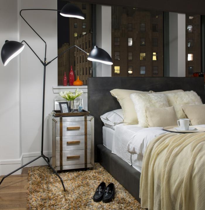 einrichtungsideen schlafzimmer mönnlich schicke bettwäsche coole beleuchtung