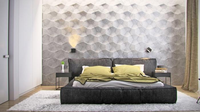 einrichtungsideen schlafzimmer schöne akzentwand textur grüne akzente