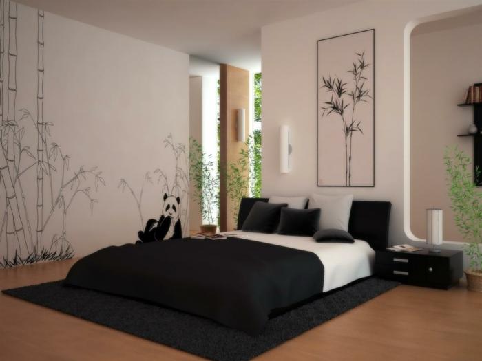einrichtungsideen schlafzimmer wandgestaltung ideen schwarze akzente
