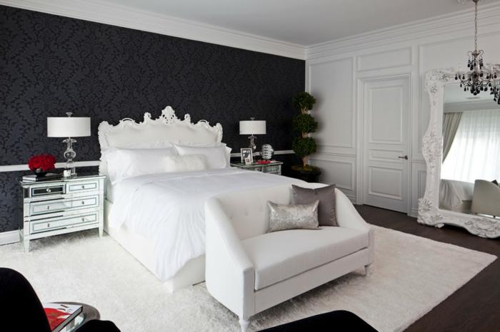 einrichtungsideen schlafzimmer weißer teppich elegante schwarze akzentwand
