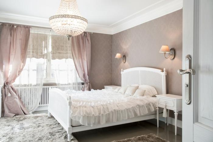 einrichtungsideen schlafzimmer weiblich sanfte farben leuchter