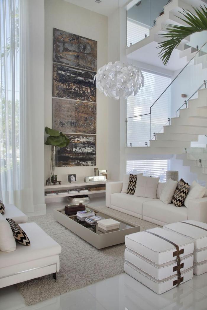einrichtungsideen wohnzimmer offener wohnplan weißes ambiente