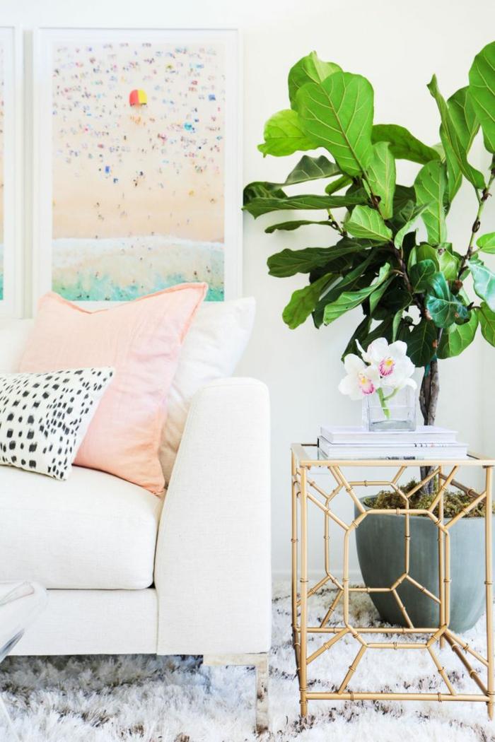 einrichtungsideen wohnzimmer teppich pflanze beistelltisch pastellfarben