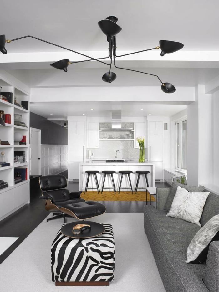 einrichtungsideen wohnzimmer zebra couchtisch weißer teppich offener wohnplan