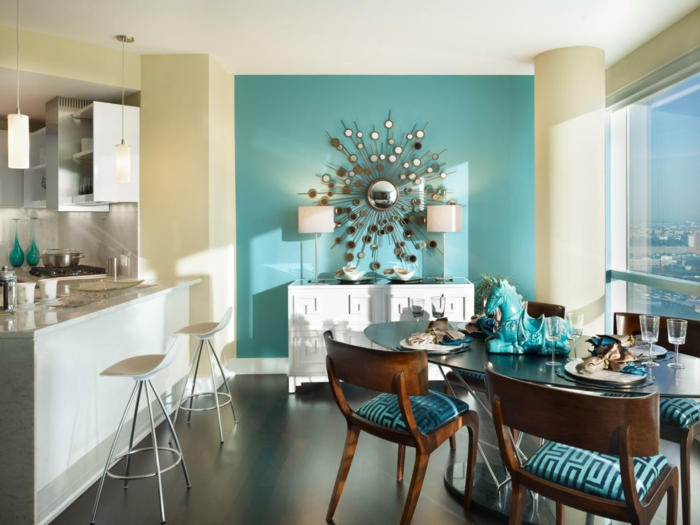 farbige wände esszimmer gestalten wanddeko ovaler esstisch