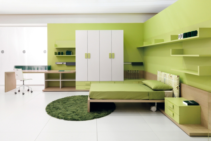 farbige wände grüne wandfarbe jugendzimmer gestalten