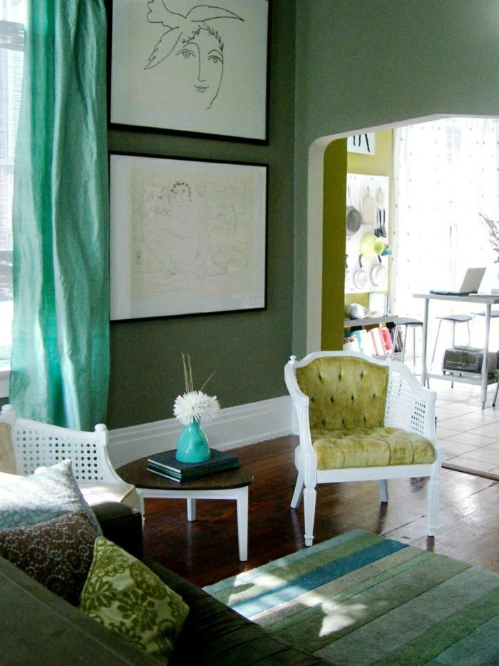 farbige wände grüne wandfarbe wohnzimmer einrichten