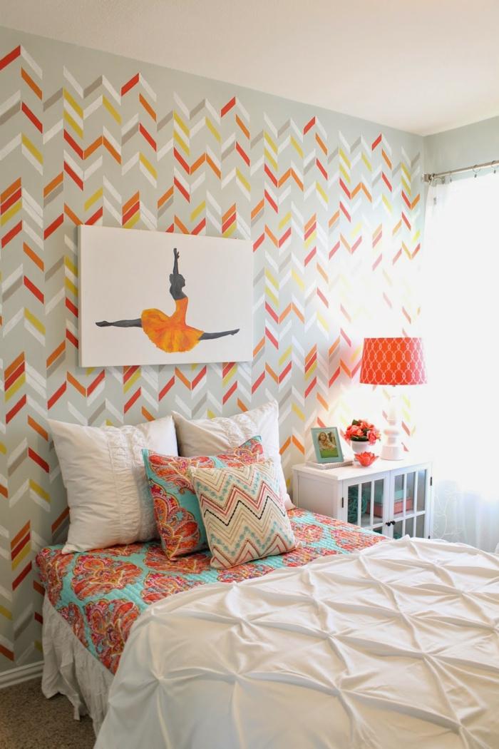 farbige wände wandtapete farbig schlafzimmer