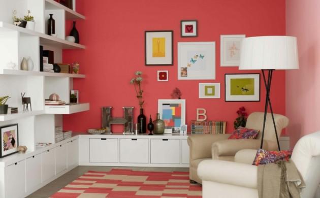 farbige-wände-warme-farbnuancen-weiße-möbel-wohnideen