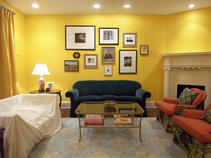 farbige wände wohnzimmer gelbe wandfarbe gelbe gardinen