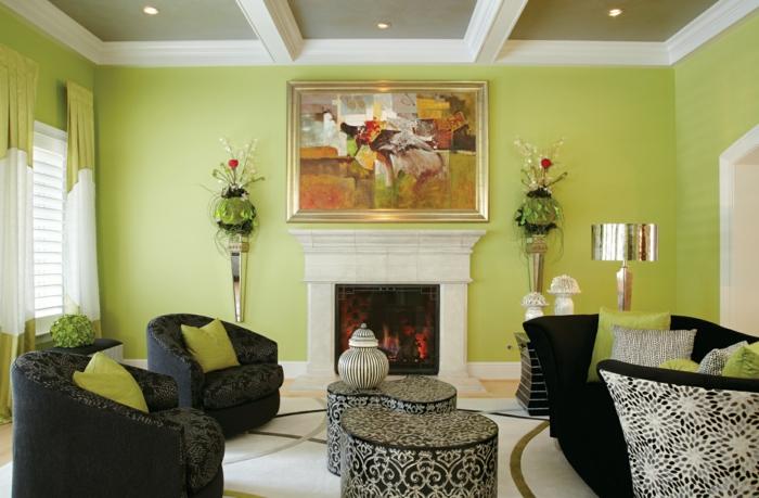 Farbige Wände Wohnzimmer Grüne Wände Dunkles Mobiliar