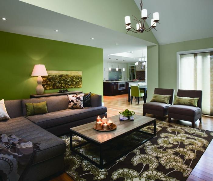 farbige wände wohnzimmer grüne wandfarbe eleganter teppich