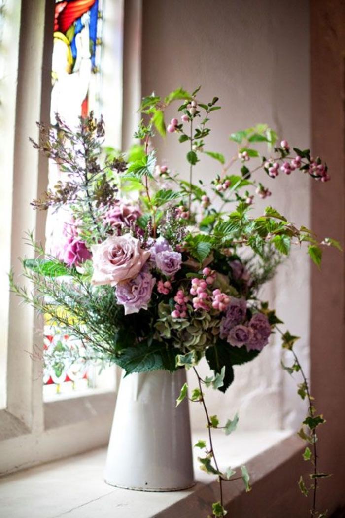 fensterbank dekoration blumen weiße vase dekoideen