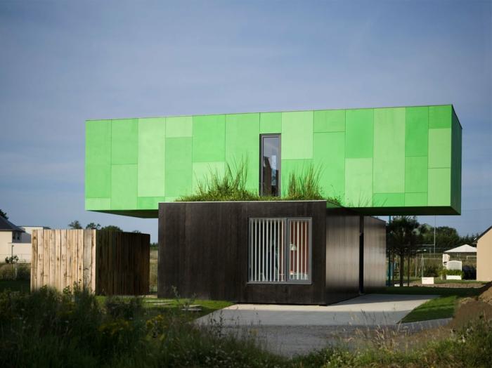 fertighaus modern ausgefallen grün moderne architektur