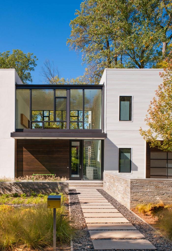 fertighaus modern stilvolle fassade gartenweg