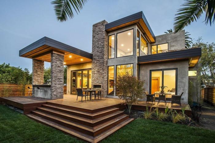fertighaus architektur steine beleuchtung treppen außenmöbel