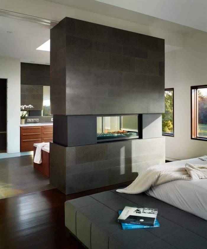 feuerstelle schlafzimmer grau offener wohnplan