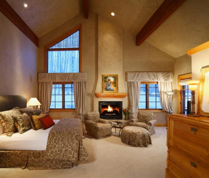 feuerstellen schlafzimmer gestalten luxuriöse bettwäsche