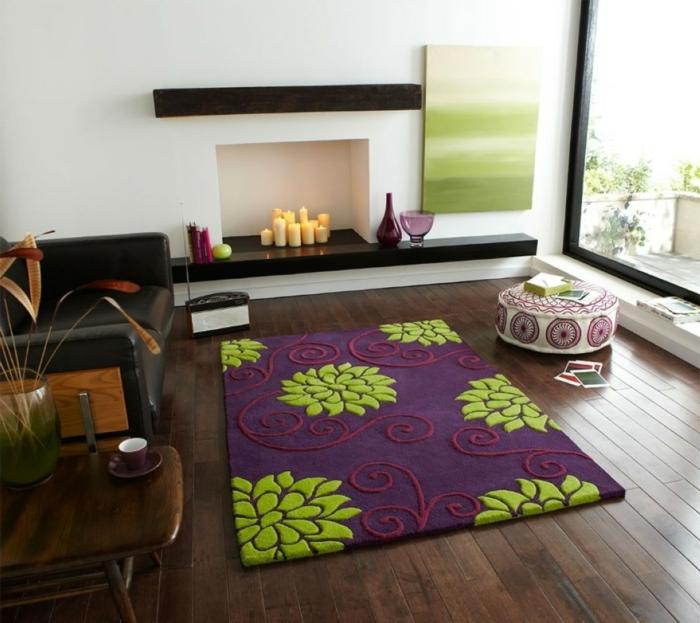 feuerstelle wohnzimmer dekoideen kerzen farbiger teppich