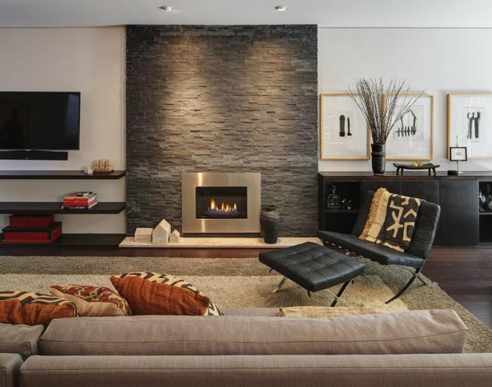 feuerstelle wohnzimmer steinwand akzentwand beiger teppich