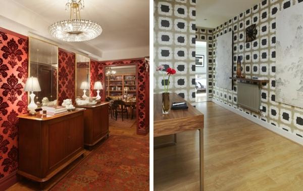 Einrichten Einrichtungsideen Wanddekoration Gemusterte Tapeten Bodenbelag  Teppich Laminat Flur ...