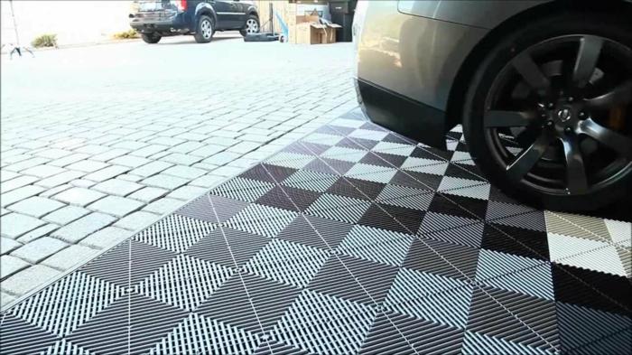 garagenfliesen garagenboden fliesen schachbrett verlegen markieren