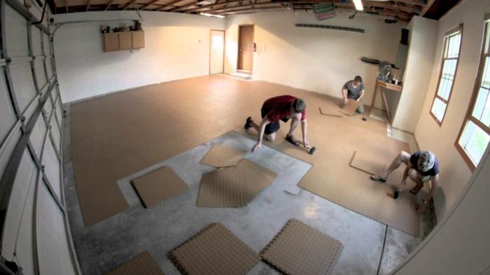 garagenfliesen garagenboden fliesen schachbrett verlegen