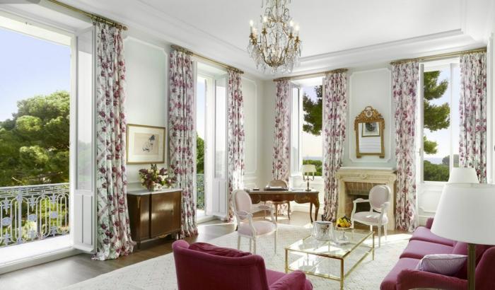 gardinen wohnzimmer gardinenmuster blumen rote möbel
