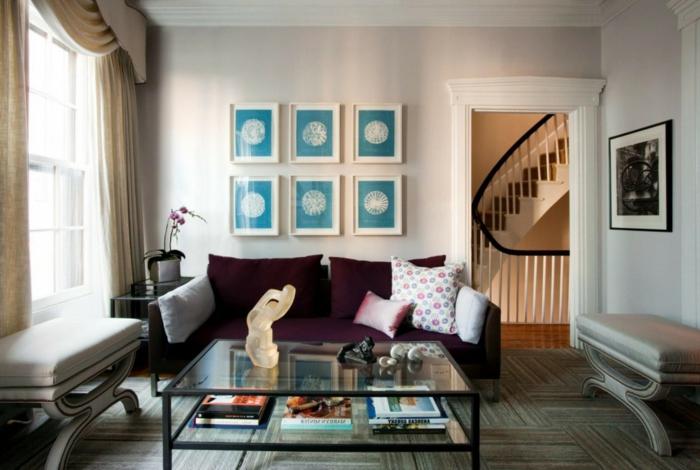 gardinen wohnzimmer schlichte gardinen lila sofa