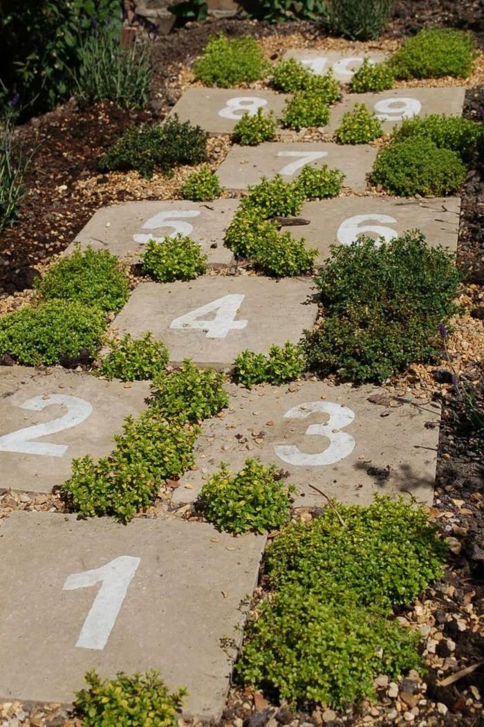 gartenideen gartenweg gehwegplatten nummer gras