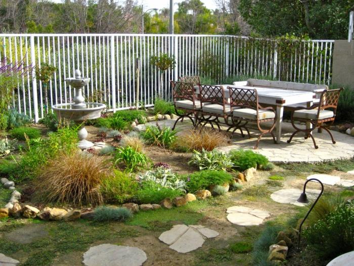 gartenideen gartenweg gestalten ideen gehwegplatten pflanzen gartenbrunnen