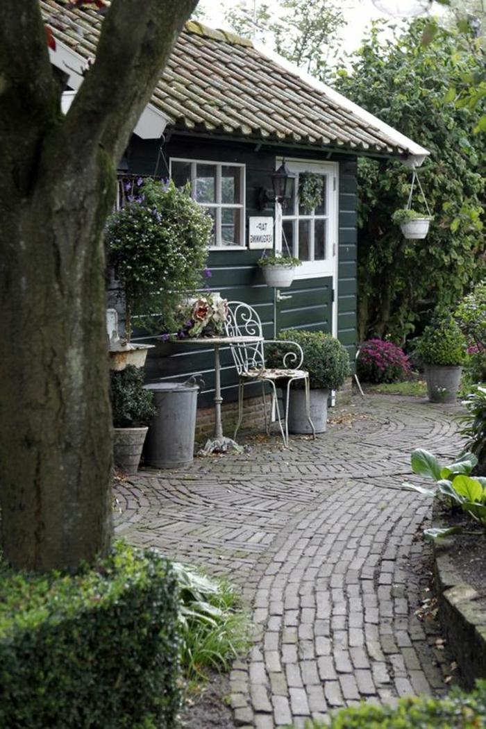 gartenideen pflastersteine vorgarten pflanzen gartenmöbel