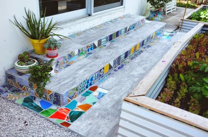 gartenweg gestalten gartenwege steinoptik vorgarten weg garagenboden fliesen ideen verschönerung