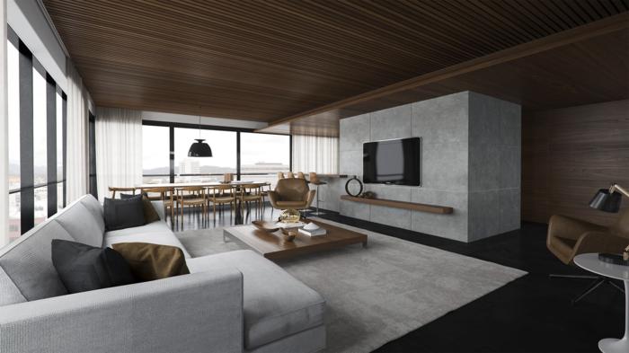 graues sofa modernes wohnzimmer einrichten offener wohnplan