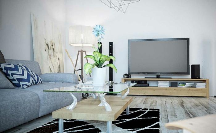 Graues Sofa Wohnideen Wohnzimmer Eleganter Teppich Pflanze Fernseher